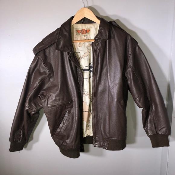 0c2b3b4f8 Vintage The Flight Club Leather Bomber Jacket M